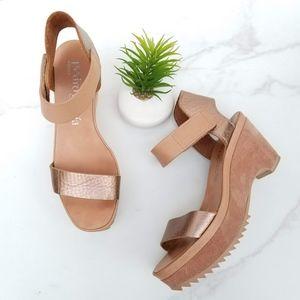 PEDRO GARCIA Metallic Wedge Platform Sandals Suede